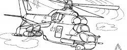 Раскраска про Военных Вертолетов